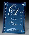 Logo Imprinted Large Azule Colored Glass Award