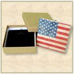 2 Square Custom Stone Coaster with Easel Backing Set - Packaged In Gift Box Custom Imprinted