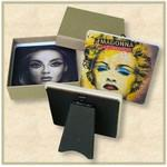 Custom Imprinted 2 Custom Square Stone Coasters with Easel Backing - Full Bleed