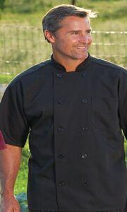 Unisex Short Sleeve Black Chef's Coat (2XL-3XL)