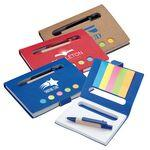 Custom Engraved Recycled Eco Mini Notebook w/ Pen & Flags