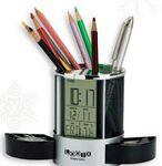 Logo Imprinted Desk Organizer with Multi Function Clock