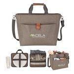 Logo Branded Del Mar 4 Person Picnic Carry Set w/Cooler Tote Bag