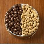 42 Oz. Chocolate Almonds/ Jumbo Cashews Custom Gift Tin Logo Branded
