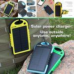 5000 mAh Dual-USB Water Resistant Solar Power Bank Battery Charger Custom Printed