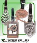 "Logo Branded 3 1/2"" Hand Finish Zinc Golf Bag Tag (Antique Finish)"