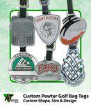 "Custom Printed 3"" Hand Finish Zinc Golf Bag Tag (Antique Finish)"