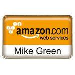 Die Cast Metal Name Badge w/Four Color Process Imprint - Rectangle Logo Branded