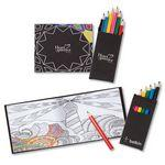 Custom Printed Black Cover Adult Coloring Book & 6-Color Pencil Set To-Go