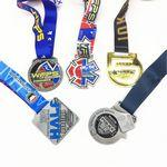 "Custom Imprinted 2"" customized shape enamel Medal with full color process ribbon"