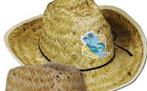 Hi-Crown Western Hat w/ Shoelace Band w/ Custom Shaped Faux Leather Icon