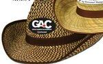 2-Tone Western Hat w/ Brown Trim & Band w/ Custom Shaped Faux Leather Icon Logo Printed