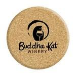 "Logo Branded Double Thick All Natural 4"" Circle Cork Coasters"