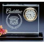 Custom Imprinted Crystal Clear Desk Clock with Base