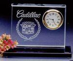 Crystal Clear Desk Clock w/Base Custom Imprinted