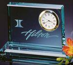 Custom Imprinted Jade Crystal Clear Desk Clock w/Base