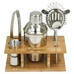 Promotional Stainless Steel Shaker Set in Bamboo Stand