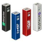 Tower of Power™ Aluminum Rechargeable Power Bank 2200 mAh Imprinted Logo
