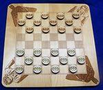 "11"" x 11"" - Checkers Board and Pieces - Engraved Wood - Made in the USA Logo Branded"