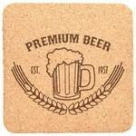 "Custom Imprinted 4"" x 4"" - Cork Coasters - Heavy Duty Premium Square - Laser Engraved"