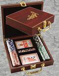 Logo Branded Rosewood Poker Set Box