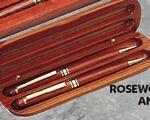Rosewood Pen, Pencil and Case Set Logo Branded