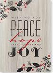 Personalized Rustic Wishes Holiday Card w/Red Lined Envelope