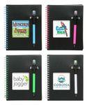 Custom Printed Union Printed, Black Spiral Notebook W/ Highlighter Pen - Full Color