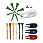 Golf Tee Pack - 4 x Wooden Golf Tees & 1 Divot Repair Tool Packed In A Poly Bag Custom Branded
