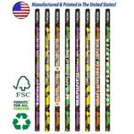 Custom Printed USA Made Colorful Camo Pencil w/ Black Eraser, #2 lead