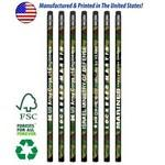 Custom Imprinted USA Made Forest Camo Pencil w/ Black Eraser, #2 lead