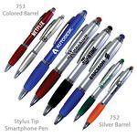 Logo Branded Smart Phone Pen With Stylus & Comfort Grip - Metallic Finish With Comfort Grip