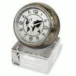 Branded Globetrotter World Time Clock with Crystal Base