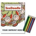 Relax Pack - ZenDoodle Coloring Book for Adults + Colored Pencils Custom Printed