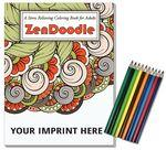 Logo Branded Relax Pack - ZenDoodle Coloring Book for Adults + Colored Pencils