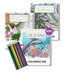 Logo Branded Gift Pack - 3 Stress Relieving Coloring Books for Adults + 10-Pack of Colored Pencils