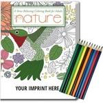 Relax Pack - Nature Coloring Book for Adults + Colored Pencils Custom Printed
