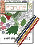 Logo Branded Relax Pack - Nature Coloring Book for Adults + Colored Pencils