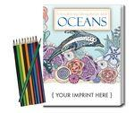 Custom Imprinted Relax Pack - Oceans Coloring Book for Adults + Colored Pencils