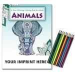 Custom Printed Relax Pack - Animals Coloring Book for Adults + Colored Pencils