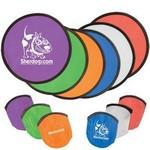 Personalized Folding Flyer Disc Hand Fan with Pouch