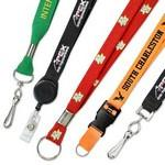 "1"" Custom Silkscreen Flat Ribbed Polyester Lanyards Logo Imprinted"