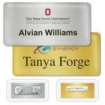 "Custom Printed DigiLine Metal Name Badges, magnet fastener, 3"" x 1.5"""