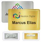"Custom Imprinted DigiLine Metal Name Badges, magnet fastener, 3"" x 2"""