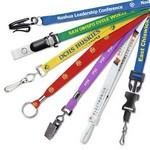 "Logo Imprinted 3/8"" Custom Silkscreen Flat Ribbed Polyester Lanyards"