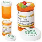 Custom Imprinted Small Amber Pill Bottle w/Candy Covered Chocolate