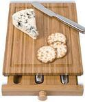 Custom Imprinted Bamboo 3 Cheese Tools Case w/Cutting Board