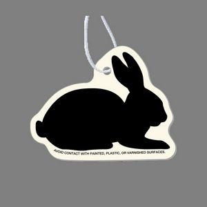 Paper Air Freshener - Sitting Rabbit Silhouette Tag W/ Tab (Right Side View)