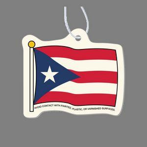 Paper Air Freshener - Full Color Flag of Puerto Rico Tag W/ Tab