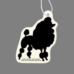 Paper Air Freshener Tag W/ Tab - Poodle Dog Silhouette